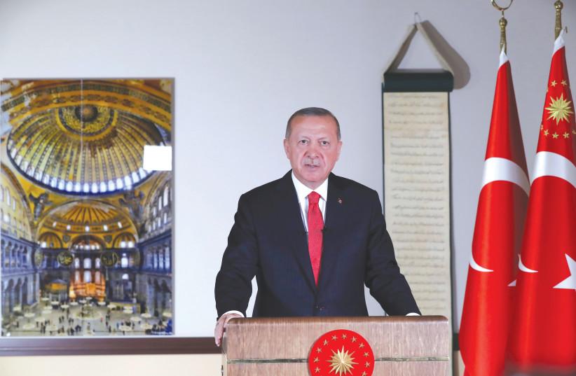 TURKISH PRESIDENT Tayyip Erdogan delivers a televised address in Ankara, June 10, 2020 (photo credit: TURKISH PRESIDENTIAL PRESS OFFICE/VIA REUTERS)