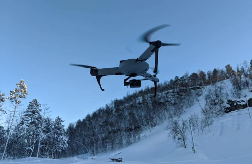 A drone produced by Atlas Dynamics, during a flight test in freezing conditions (photo credit: ATLAS DYNAMICS)