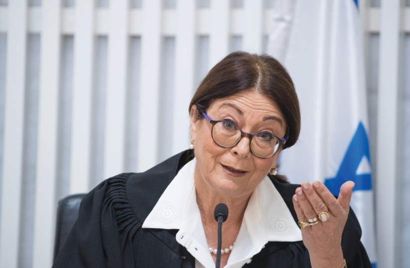 HIGH COURT OF JUSTICE President Esther Hayut hears a petition at the Supreme Court in Jerusalem (photo credit: YONATAN SINDEL/FLASH 90)