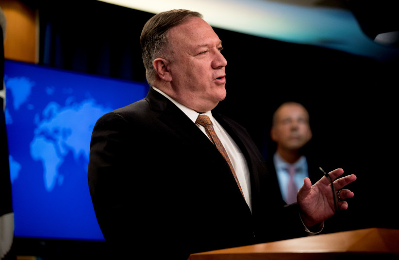 U.S. Secretary of State Mike Pompeo speaks during a news conference at the State Department in Washington, D.C., U.S., July 15, 2020 (photo credit: ANDREW HARNIK/POOL VIA REUTERS)