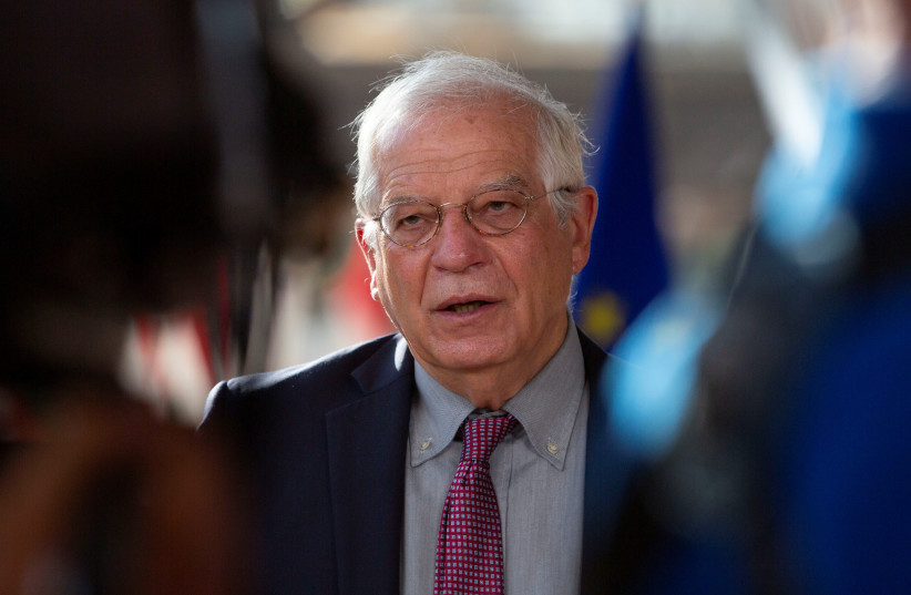 Chief Josep Borrell reads a statement as he arrives for a meeting of EU Foreign Ministers at the European Council building in Brussels, Belgium July 13, 2020. (photo credit: REUTERS/VIRGINIA MAYO/POOL)
