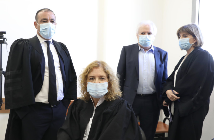 Lawyers prepare for the second hearing of Prime Minister Benajmain Netanyahu's trial, July 19, 2020 (photo credit: MARC ISRAEL SELLEM/THE JERUSALEM POST)