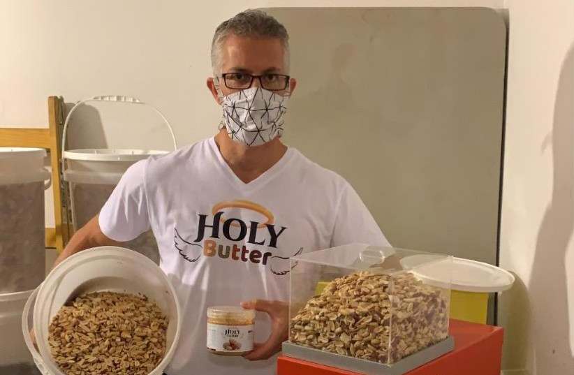 JASON COHEN in his home peanut butter factory in Modi'in (photo credit: Courtesy)