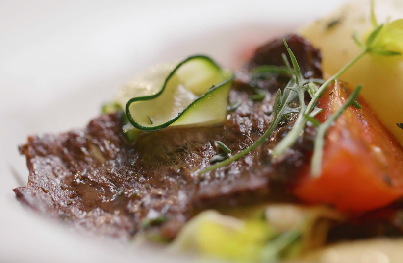 Beef steak made from cultivated meat cultures via Aleph Farms (photo credit: Courtesy)