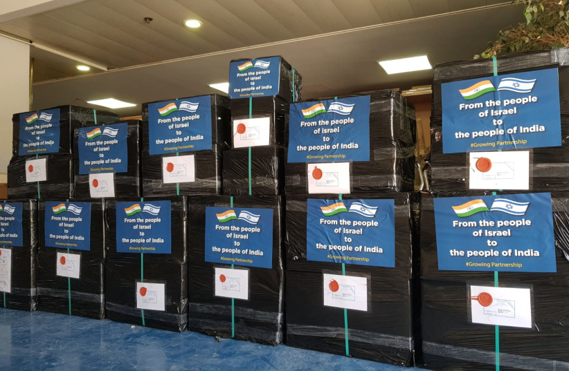 Eight packages at the Foreign Ministry's warehouse intended to be sent to India to assist with combating the coronavirus (photo credit: FOREIGN MINISTRY)