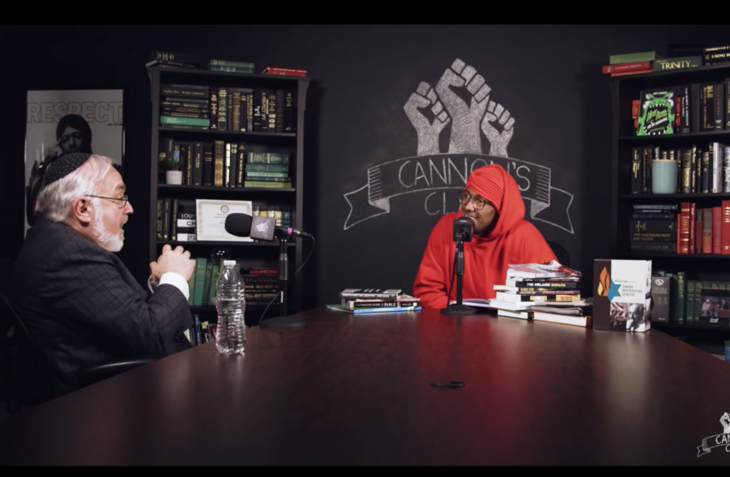 """Rabbi Abraham Cooper, left, talks with Nick Cannon on an episode of his online """"Cannon's Class"""" show. (photo credit: YOU TUBE)"""