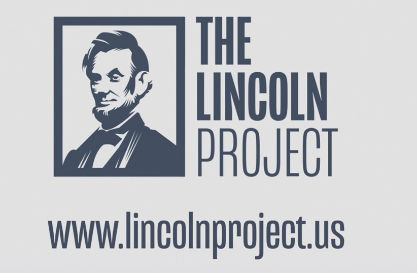 A logo for The Lincoln Project, funded by wealthy conservative donors who are opposed to the re-election of US President Donald Trump, is seen in a still image from video July 23, 2020 (photo credit: THE LINCOLN PROJECT/HANDOUT VIA REUTERS)