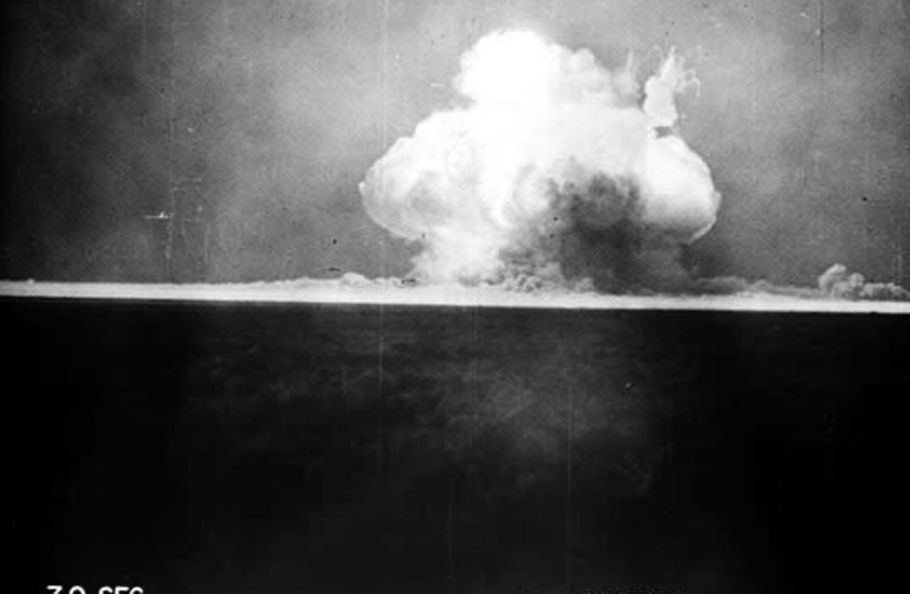 A mushroom cloud from the Trinity Nuclear Test.  (photo credit: Wikimedia Commons)