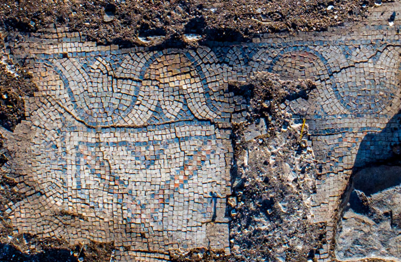 Mosaic floor of the ancient church (photo credit: ALEX WIEGMANN/ISRAEL ANTIQUITIES AUTHORITY)