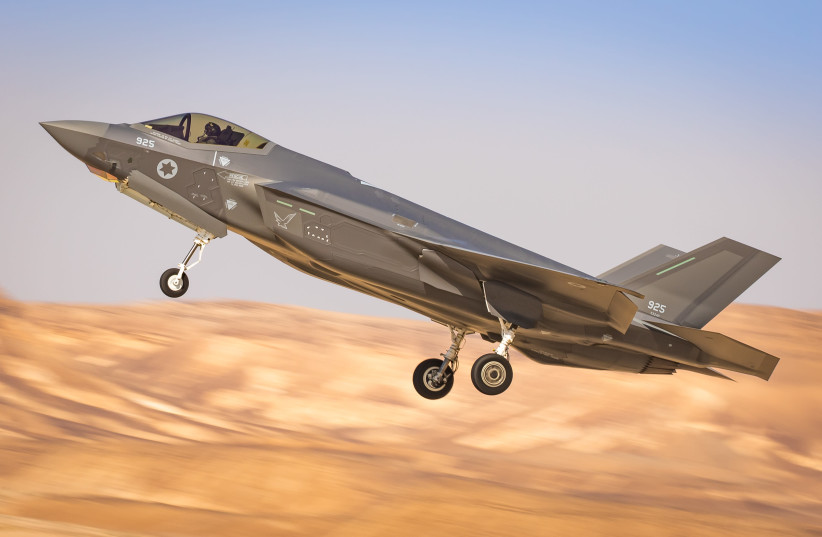 ISRAELI F-35 takes off from an airbase in southern Israel (photo credit: AMIT AGRONOV/ISRAEL AIR FORCE)