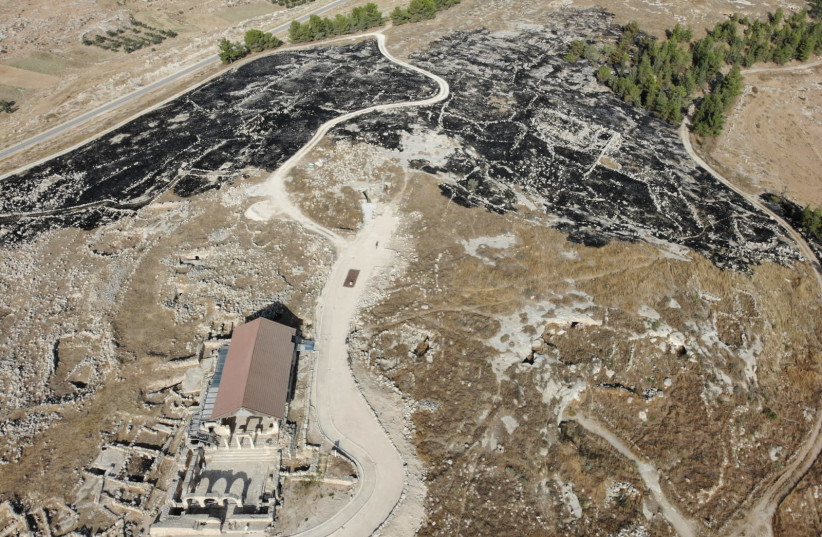 Susya archaeological site after fire on July 30. (photo credit: COGAT SPOKESPERSON)