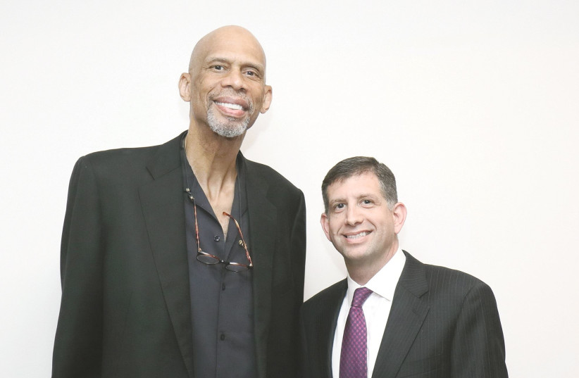 KAREEM ABDUL-JABBAR with the author, who called the basketball great a humanitarian and a philanthropist, steeped in a long and enduring commitment to tolerance. (photo credit: Courtesy)