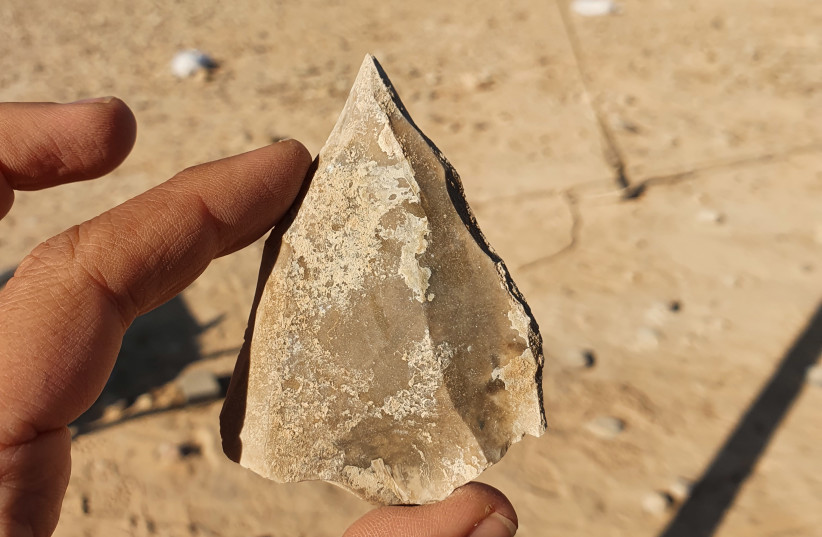 Tools made of stone show the migratory patterns of early humans (photo credit: EMIL ELJEM/ISRAEL ANTIQUITIES AUTHORITY)