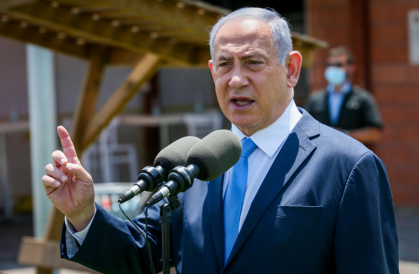 Prime Minister Benjamin Netanyahu visits Home Front Command, August 4, 2020 (photo credit: YOSSI ALONI/FLASH90)