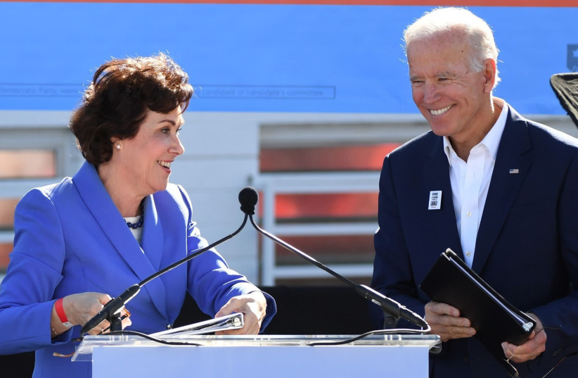 Then-Senate candidate Jacky Rosen introduces former Vice President Joe Biden as he campaigns for Nevada Democratic candidates during a rally in Las Vegas, Oct. 20, 2018.  (photo credit: ETHAN MILLER / GETTY IMAGES NORTH AMERICA / AFP)