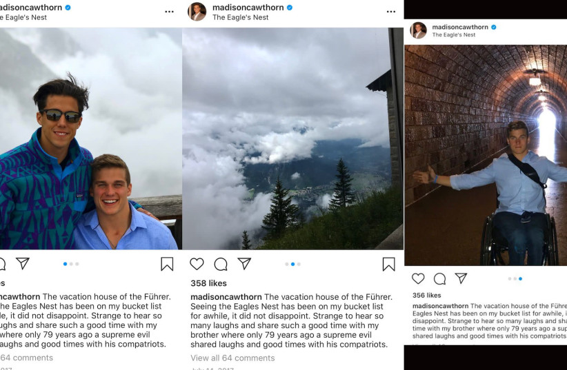 "Screenshots from Madison Cawthorn's Instagram account show pictures from a 2017 visit to the site of a Nazi retreat used frequently by Adolf Hitler. In the caption of the now-deleted pictures, Cawthorn called Hitler ""the Führer."" (photo credit: TWITTER)"