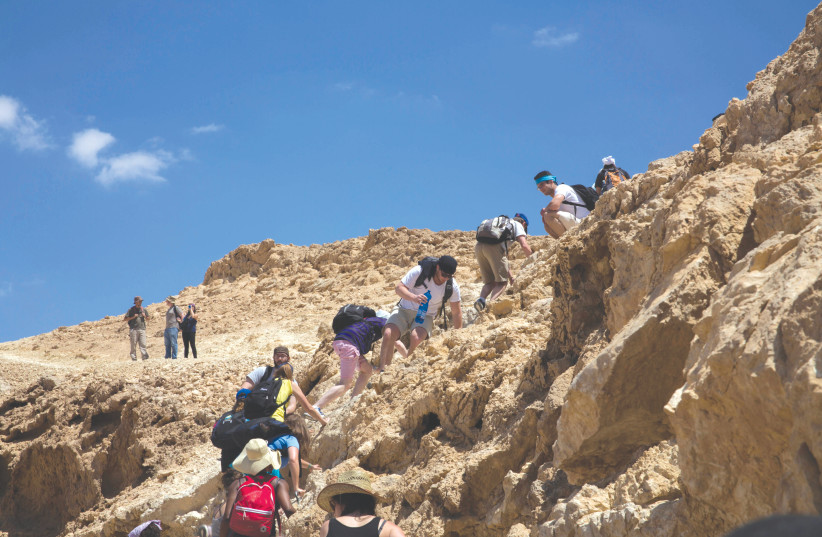 A group of MASA participants hike in the Negev near Machtesh Ramon on April 21 2013 (photo credit: SARAH SCHUMAN/ FLASH90)