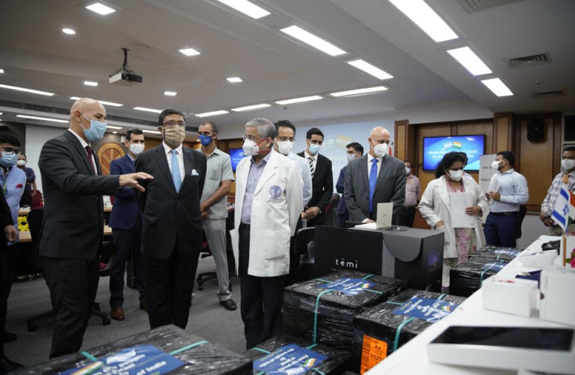 The medical equipment was delivered to AIIMS in New Delhi during a festive ceremony that celebrated the Israel-India relations, August 11, 2020.  (photo credit: EMBASSY OF ISRAEL IN INDIA)