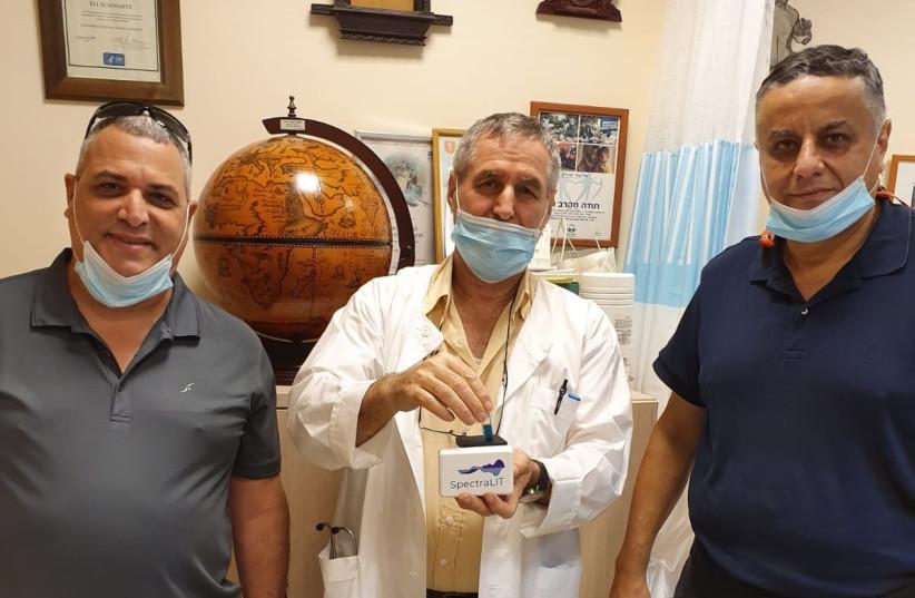 Left to Right: Eli Assolin, CEO & Co-founder-Newsight Imaging Prof. Eli Schwartz, Sheba Medical Center Eyal Yatskan, CTO & Co-founder, Newsight Imaging (photo credit: Courtesy)