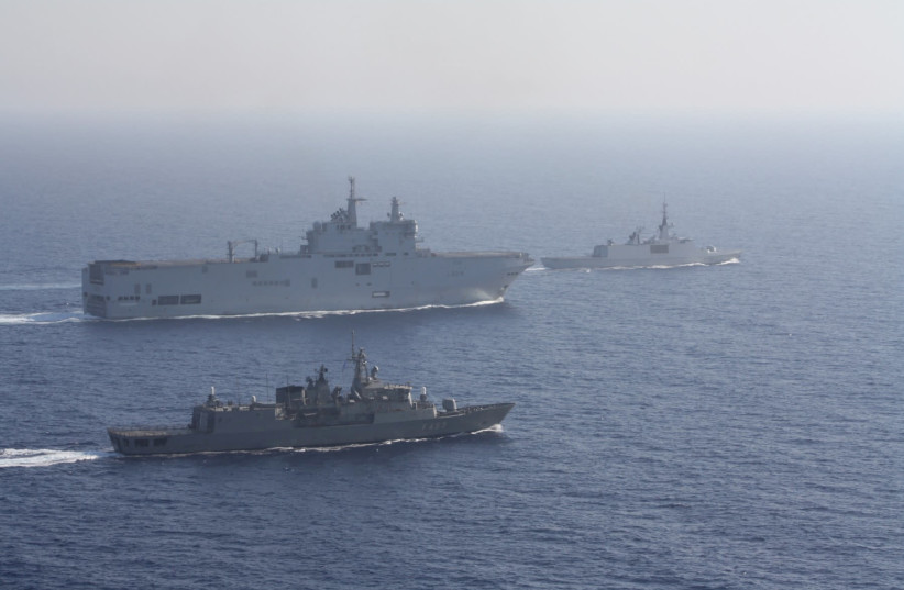 Greek and French vessels sail in formation during a joint military exercise in Mediterranean sea, in this undated handout image obtained by Reuters on August 13, 2020 (photo credit: GREEK MINISTRY OF DEFENCE/HANDOUT VIA REUTERS)