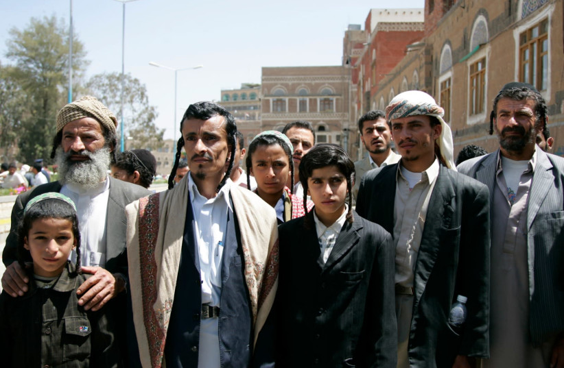 Yemeni Jews demonstrate outside the Cabinet office in Sanaa, March 2009 (photo credit: KHALED ABDULLAH/ REUTERS)