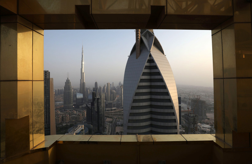 General view of the Burj Khalifa, the world's tallest building, and the Dubai skyline from the Gevora Hotel, in Dubai (photo credit: REUTERS/CHRISTOPHER PIKE)