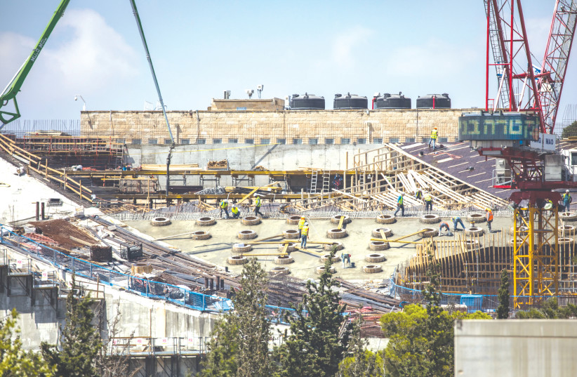 THE CONSTRUCTION site of the new National Library in Jerusalem in August, 2020. (photo credit: OLIVIER FITOUSSI/FLASH90)