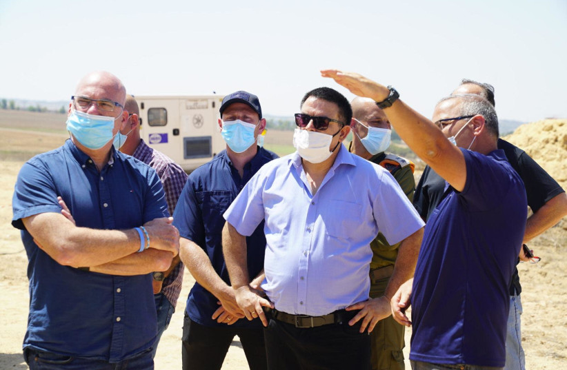Defense Ministry's Civil and Social Issues Minister Michael Biton touring the Gaza Strip area, August 20, 2020. (photo credit: TAL OZ/DEFENSE MINISTRY/POLICE SPOKESPERSON'S UNIT)