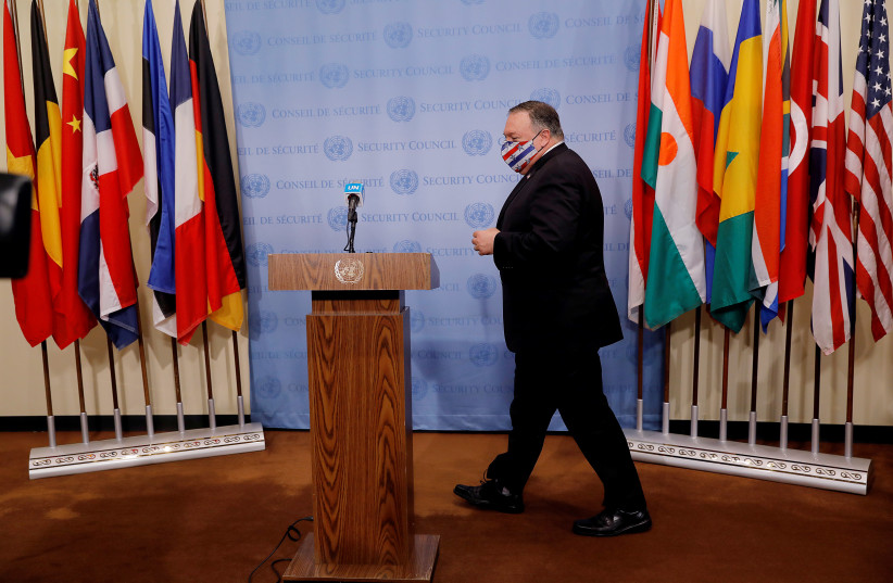 US Secretary of State Mike Pompeo arrives to speak to reporters following a meeting with members of the UN Security Council about Iran's alleged non-compliance with a nuclear deal and calling for the restoration of sanctions against Iran at UN headquarters in New York, US, August 20, 2020 (photo credit: REUTERS/MIKE SEGAR/POOL)