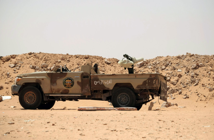 A military vehicle which belongs to the Libyan National Army (LNA) commanded by Khalifa Haftar is seen at one of their sites in west of Sirte, Libya August 19, 2020 (photo credit: REUTERS/ESAM OMRAN AL-FETORI)