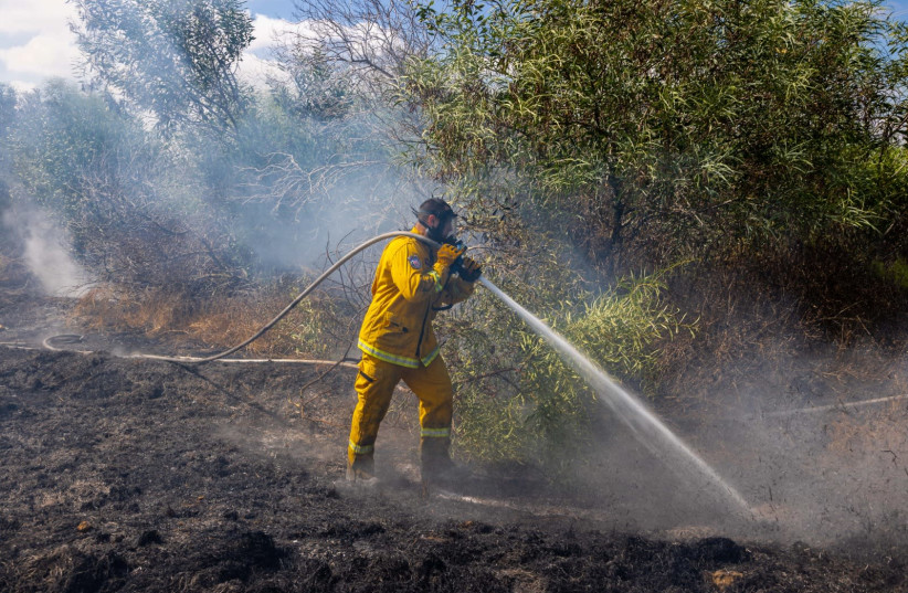 Fire and Rescue Services working to put out fire in 22 different locations, August 21, 2020.  (photo credit: TZAFRIR NIR)