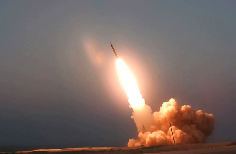 A missile unveiled by Iran is launched in an unknown location in Iran in this picture received by Reuters on August 20, 2020 (photo credit: WANA NEWS AGENCY/REUTERS)