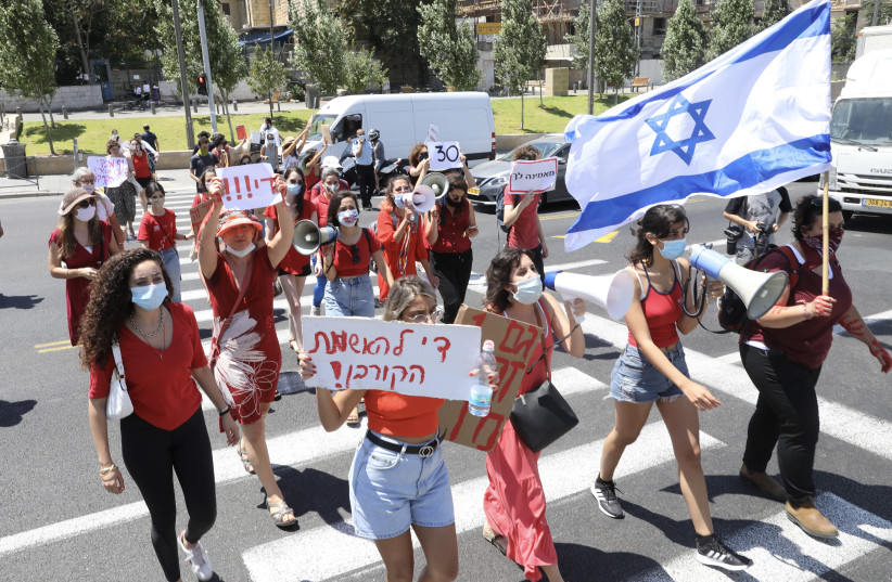 Israelis demonstrate against sexual violence after the rape of a 16-year-old girl in Eilat last week, Jerusalem, August 23, 2020 (photo credit: MARC ISRAEL SELLEM/THE JERUSALEM POST)