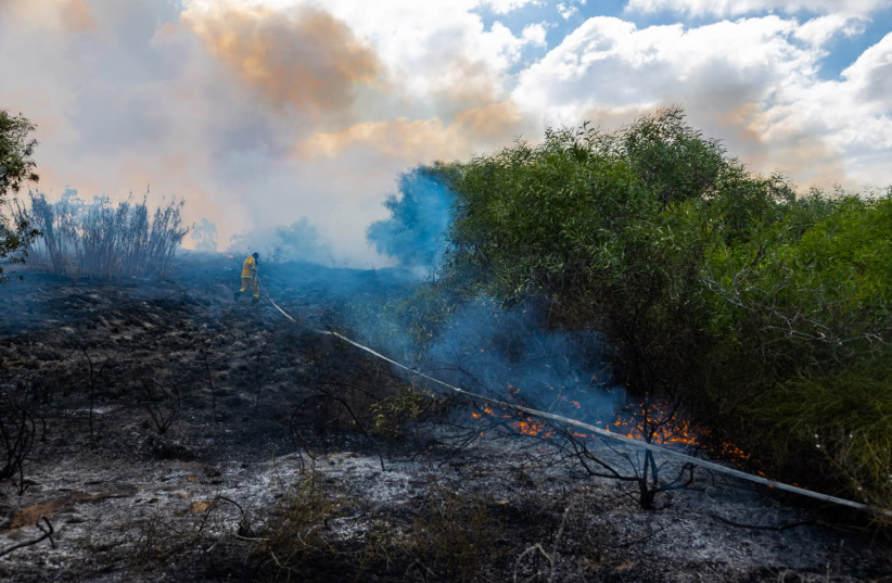 Fires caused by incendiary balloons in Israel near the Gaza Strip, August 2020 (photo credit: TZAFRIR NIR)