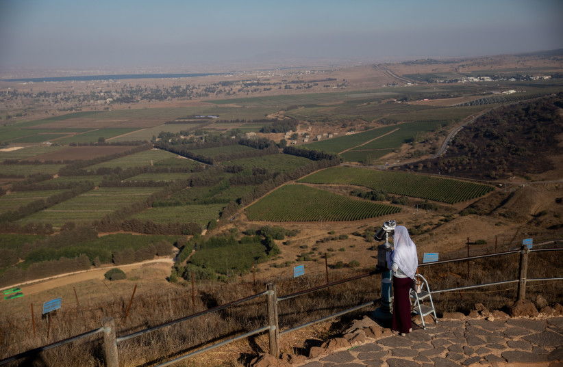 The view from Mount Bental, overlooking the border with Syria in the Golan Heights, August 22, 2020 (photo credit: YONATAN SINDEL/FLASH90)