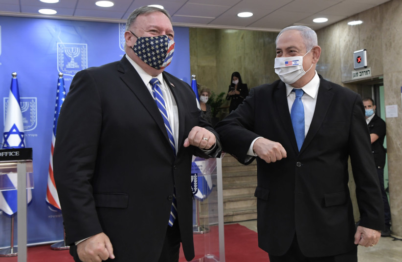 US Secretary of State Mike Pompeo meets with Prime Minister Benjamin Netanyahu as part of a five-day visit to the region, August 24, 2020 (photo credit: KOBI GIDEON/GPO)