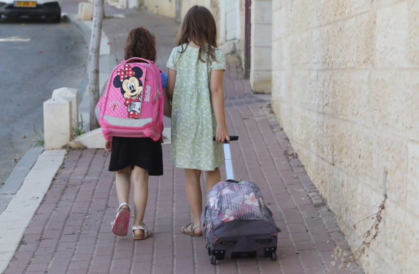 Children are returning to school in Israel amid the coronavirus pandemic. August 24, 2020. (photo credit: MARC ISRAEL SELLEM)
