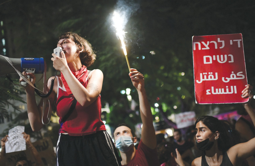 Demonstrators gather in Tel Aviv on Sunday in support of a 16-year-old victim of a gang rape in Eilat. August 2020  (photo credit: TOMER NEUBERG/FLASH90)