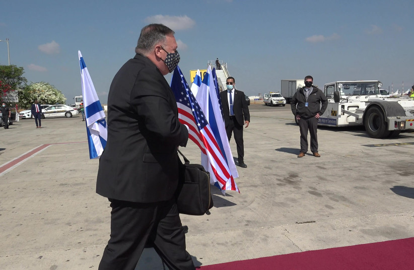 U.S. Secretary of State Michael R. Pompeo departs from Ben Gurion airport after completing his visit in Israel, on August 25, 2020 (photo credit: SCREENSHOT/ZIV SOKOLOV)