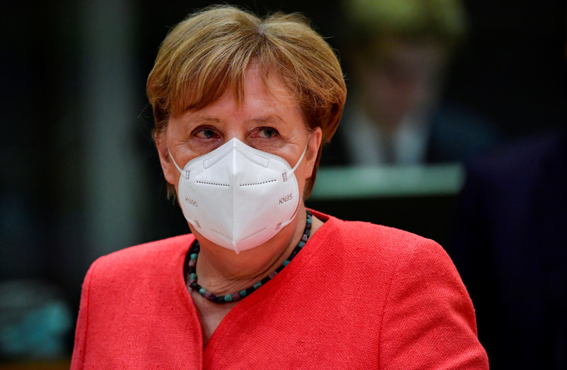 German Chancellor Angela Merkel looks on during the first faceto-face EU summit since the coronavirus disease outbreak in Brussels on July 20 (photo credit: REUTERS)