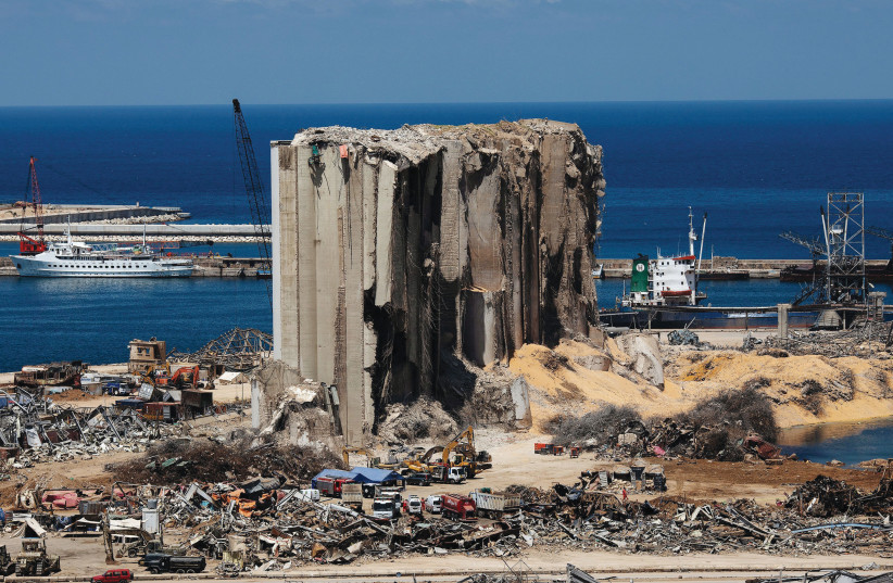 Damaged Beirut Port area, August 17 (photo credit: ALKIS KONSTANTINIDIS / REUTERS)