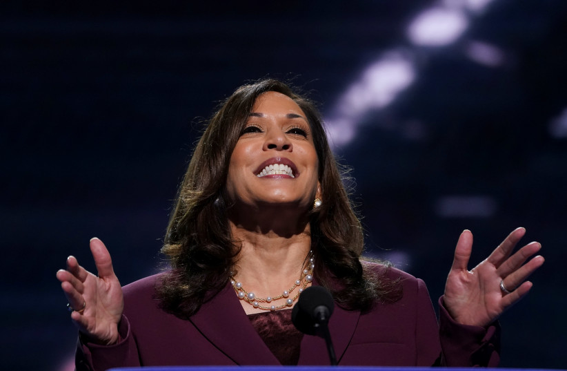U.S. Senator Kamala Harris (D-CA) accepts the Democratic vice presidential nomination during an acceptance speech delivered for the largely virtual 2020 Democratic National Convention from the Chase Center in Wilmington, Delaware, U.S., August 19, 202 (photo credit: REUTERS/KEVIN LAMARQUE)