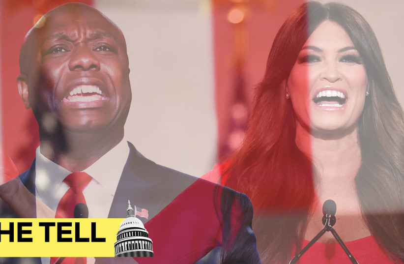 Tim Scott and Kimberly Guilfoyle at the Republican National Convention.  (photo credit: GETTY IMAGES)