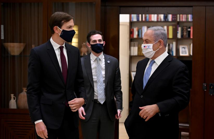 Prime Minister Benjamin Netanyahu, US president special adviser Jared Kushner, and Special Assistant to the US president Avi Berkowitz (photo credit: MATTY STERN / US EMBASSY JERUSALEM)