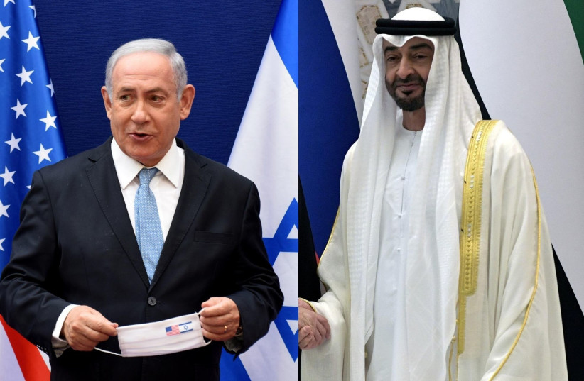 Prime Minister Benjamin Netanyahu and Abu Dhabi Crown Prince Mohammed bin Zayed (photo credit: CANVA.COM)