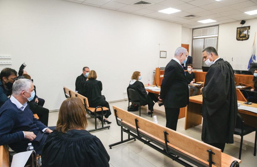 'A PERSON'S trust in a fair trial is similar': Opening the trial against Prime Minister Benjamin Netanyahu at the Jerusalem District Court on May 24 (photo credit: AMIT SHABI/POOL)