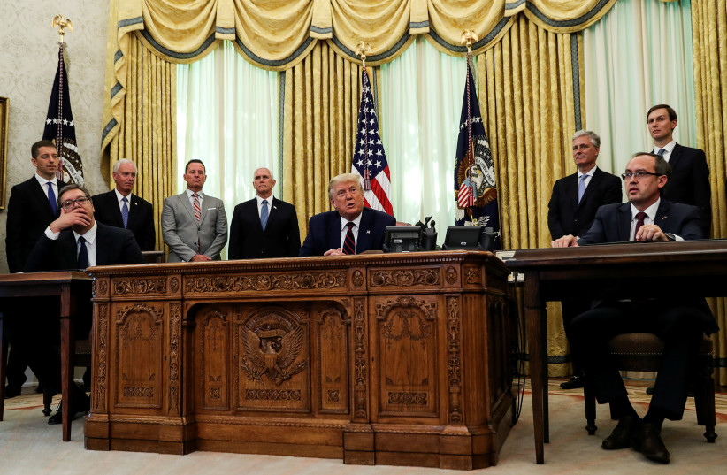 U.S. President Donald Trump speaks during a meeting with Serbia's President Aleksandar Vucic and Kosovo's Prime Minister Avdullah Hoti at the White House in Washington, U.S., September 4, 2020 (photo credit: REUTERS/LEAH MILLIS)
