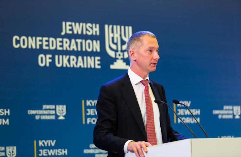 Boris Lozhkin, president of the Jewish Confederation of Ukraine, speaking at the 2019 Kyiv Jewish Forum (photo credit: JEWISH CONFEDERATION OF UKRAINE)