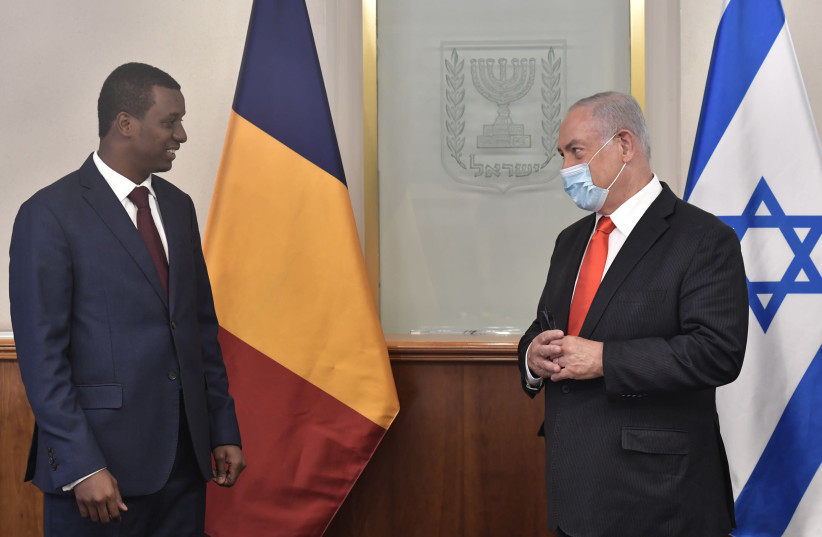 Prime Minister Benjamin Netanyahu meets with Deputy Director of Chad's civil cabinet Abdelkerim Idriss Déby (photo credit: KOBI GIDEON/GPO)