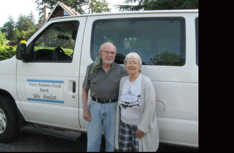 Henry Rosenthal, pictured here with his wife Esther, runs the food back of Point Roberts, Washington.  (photo credit: JTA)